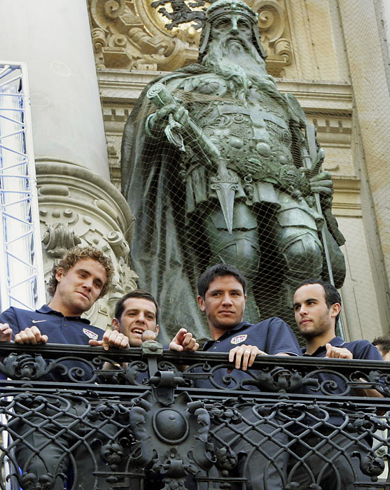 Teammates Chris Albright, Ben Olsen and Brian Ching with Donovan on the balcony of their German hotel before the 2006 World Cup.