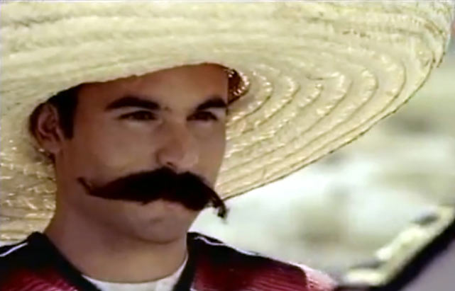 "This image taken from video shows Donovan wearing a fake mustache and a sombrero in a television commercial for the new soccer lottery ""GanaGol,"" being run by Mexico TV giant Televisa."