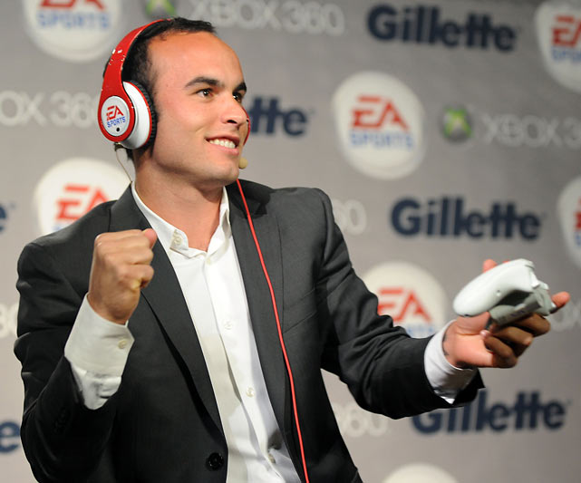 Donovan busts a move while playing a video game at the EA SPORTS Champions of Gaming Global Finals in New York City.