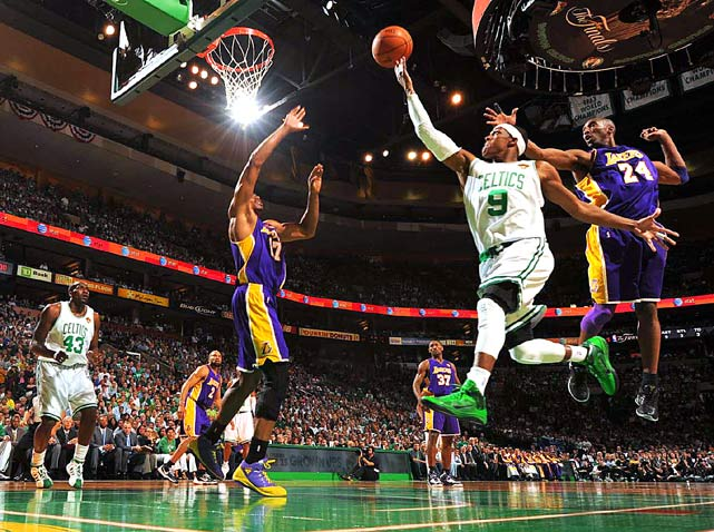 Rajon Rondo of the Boston Celtics drives for a shot attempt against the Los Angeles Lakers during Game 4 of the 2010 NBA Finals on June 10 at TD Garden in Boston. Rondo had 11 points in the Celtics 91-84 loss.
