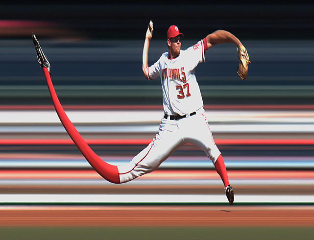 "A ""strip camera"" image (similar to cameras used for finish line shots at horse racing) of the Nationals' Stephen Strasburg as he pitches against the Royals at Nationals Park in Washington, D.C., on June 23. The Royals won 1-0 and handed Strasburg his first major league loss."