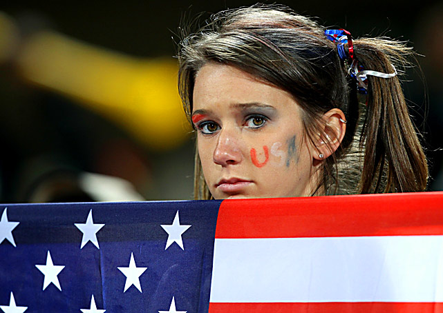 A U.S. fan looks dejected after the Americans lost to Ghana 2-1 in the round of 16 of the World Cup at Royal Bafokeng Stadium in Rustenburg, South Africa, on June 26.