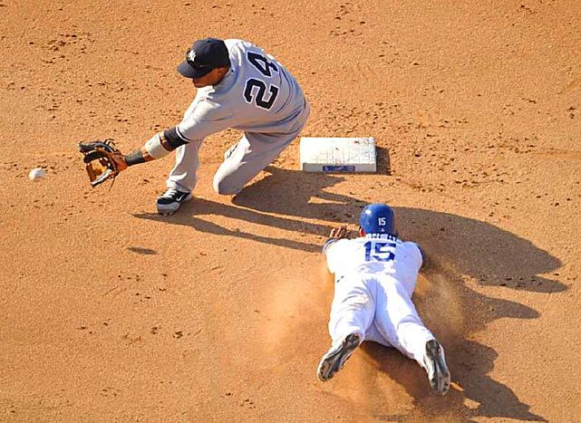 The Dodgers' Rafael Furcal steals second base in the fourth inning as the Yankees' Robinson Cano is late on the tag during L.A.'s 9-4 victory at Dodger Stadium on June 26.