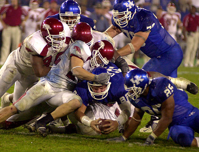 Arkansas has been involved in two of the three NCAA football games that have gone seven OT, most recently downing Kentucky 71-63 in Lexington. The Razorbacks piled up 605 yards of total offense (334 rushing; 271 passing) to Kentucky's 506. The game ended with Arkansas recovering a fourth-down fumble by Kentucky's Jared Lorenzen on the Razorback five-yard line. Two years earlier, Arkansas went seven OT vs. Ole Miss, on Nov. 1, 2001, winning 58-56.