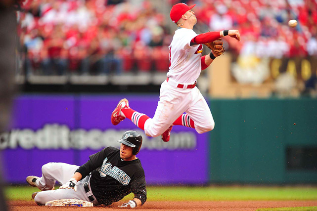 Florida's Brett Hayes is out at second as St. Louis shortstop Brendan Ryan fails to turn the double play during the seventh inning of their May 20 game in St. Louis. The Marlins' Bryan Petersen was safe at first.