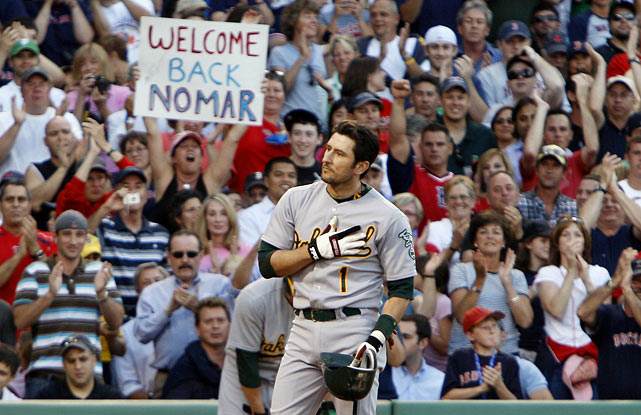 After more than four seasons away from the place he called home for almost nine seasons, Garciaparra returned to Fenway Park in an Oakland A's uniform. The Fenway Park crowd was giddy even as Garciaparra took batting practice, and when he stepped up to the plate, the crowd erupted in more than a minute of adoration. Garciaparra stepped out of the box and tipped his cap to the adoring crowd. In the 2009 offseason, he signed a one-day contract to retire a Red Sox.