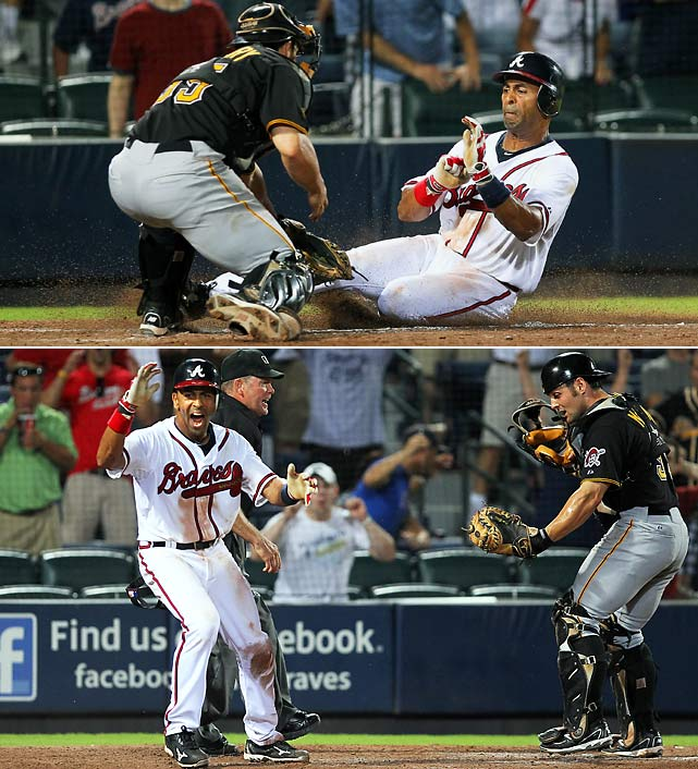 "Julio Lugo scored from third base on a contested play at the plate, giving the Atlanta Braves a 4-3 win in 19 innings over the Pittsburgh Pirates. The game, which took 6 hours 39 minutes and ended at 1:50 a.m., was the longest in Turner Field history. Lugo took off on Scott Proctor's grounder to third baseman Pedro Alvarez, whose throw to catcher Michael McKenry easily beat Lugo to the plate. Lugo tried to avoid McKenry's tag with a pop-up slide. Replays indicated McKenry made the tag, but home plate umpire Jerry Meals called Lugo safe. ""I saw the tag, but he looked like he oled him and I called him safe for that,"" Meals said. ""I looked at the replays and it appeared he might have got him on the shin area. I'm guessing he might have got him, but when I was out there when it happened I didn't see a tag. I just saw the glove sweep up. I didn't see the glove hit his leg."""