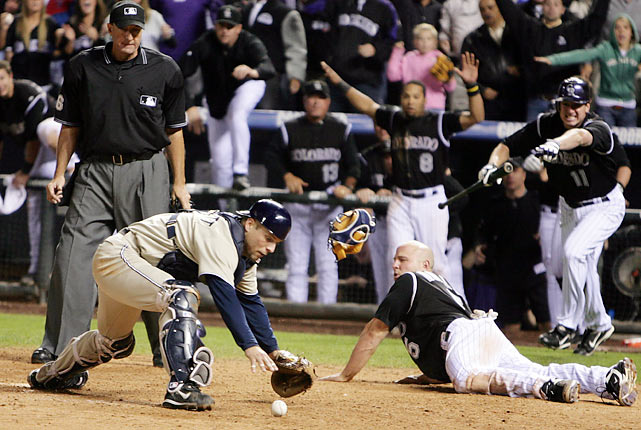 In 2007, the Padres and Rockies finished with identical records after 162 games, necessitating a one-game tiebreaker for the NL Wild Card. The game went to extra innings, and in the top of the 13th, San Diego knocked in two runs to take the lead. But in the bottom half of the inning, the Rockies rallied against all-time saves leader Trevor Hoffman. The Rockies scored the winning run when Matt Holliday tagged up from third and barreled into Padres' catcher Michael Barrett. Home plate umpire Tim McClelland called Holliday safe, but replays suggested the runner never actually touched the plate.