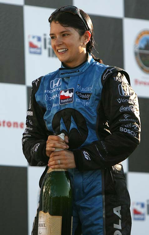 Patrick celebrated with Detroit Indy Grand Prix winner Tony Kanaan and third-place finisher Dan Wheldon after taking second in the 2007 race.