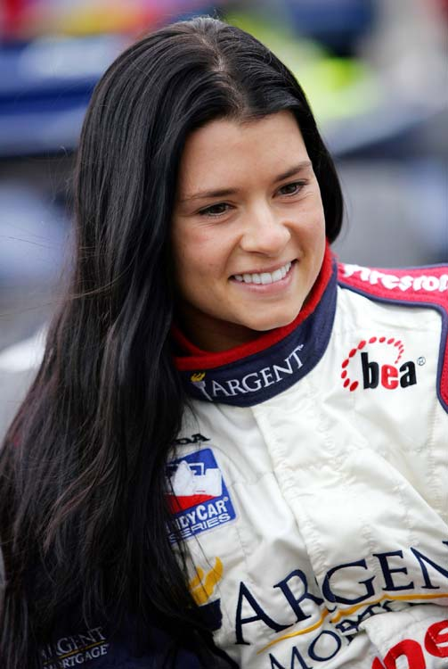 Patrick is all smiles as she waits in pit lane during the IRL open test in February 2005. In her debut season, Patrick would earn three poles, tying Tomas Scheckter's rookie record.