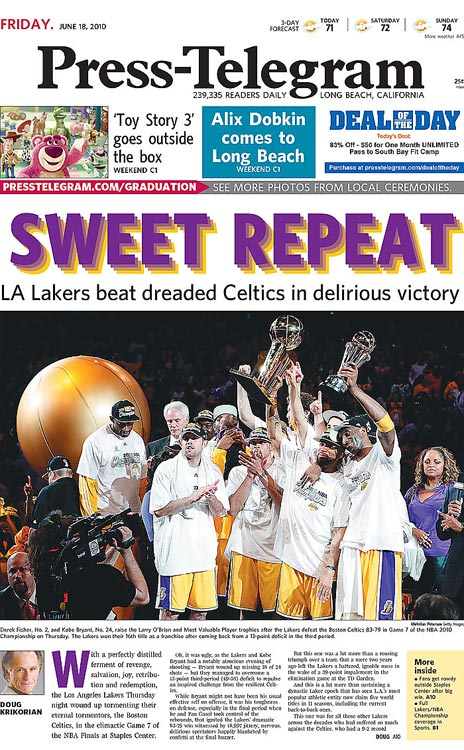 With an 83-79 win over the Celtics in Game 7 of the 2010 NBA Finals, the Lakers captured their 16th franchise championship. Here's how papers across the country commemorated their victory.