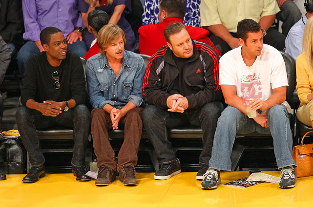 "It was comedy row next to the Lakers' bench. Chris Rock, David Spade, Kevin James and Adam Sandler sat together to promote their movie ""Grown Ups."""