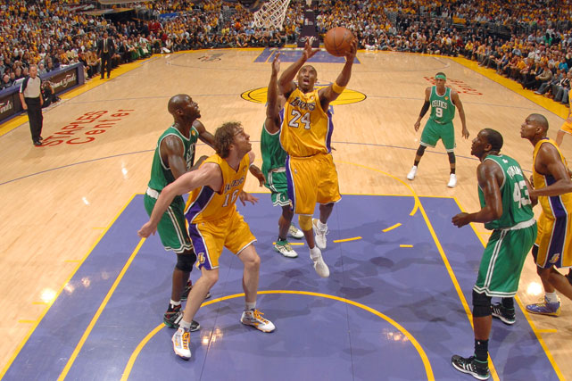 The star of the postseason shined once again. In the 12th Finals meeting of the Lakers and Celtics, Kobe Bryant made it clear he was out to win his fifth championship as he carried L.A. to a 102-89 rout in Game 1.