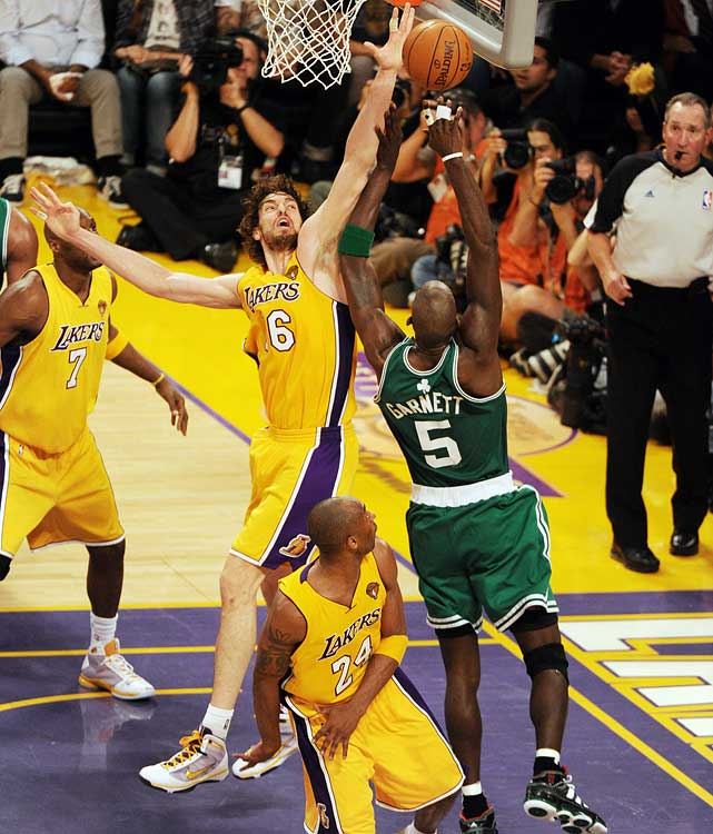 In a reversal of Game 5, Gasol got the better of Kevin Garnett, holding the Boston big man to 12 points on 6-of-14 shooting and six boards.