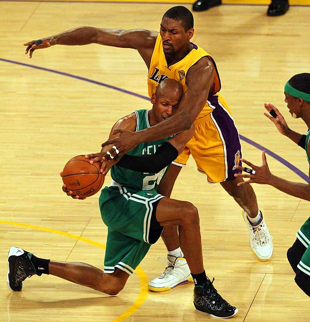 The Lakers acquired Ron Artest last summer for his defensive prowess, and, on Thursday, he provided that and much more with 20 points and five steals while holding Boston's Paul Pierce to just 5-of-15 shooting.