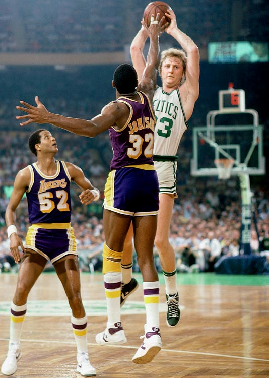 In the first Finals duel between Magic Johnson and Larry Bird (pictured earlier in the series), the Celtics survived the Lakers' late comeback to win the decisive game in Boston. Cedric Maxwell scored 24 points for Boston and Finals MVP Bird added 20 points and 12 rebounds.