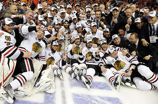 Patrick Kane's dramatic overtime goal in Game 6 vs. Philadelphia snapped Chicago's 49-year Cup drought, which was the longest such active run to date. The Blackhawks' championship made for an emotional return of the chalice to the city where Hall of Famers Bobby Hull and Stan Mikita had broken a 23-year schneid in 1961.