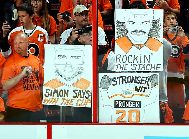 Flyers fans salute their heroes.