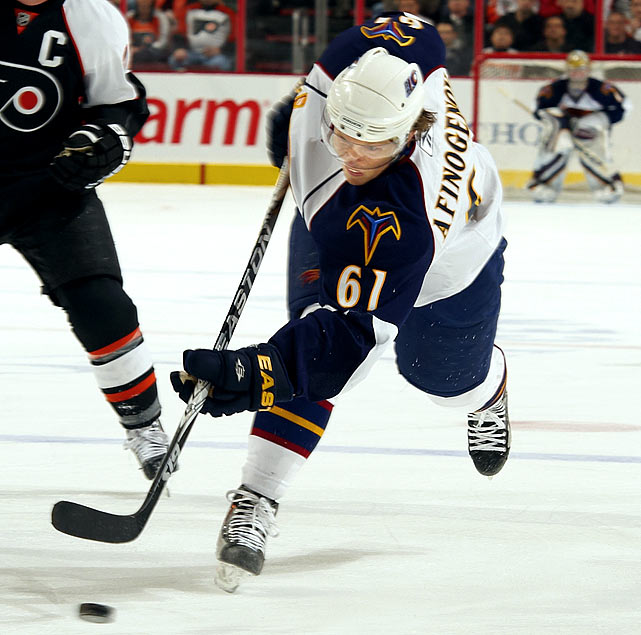 Blessed with spectacular speed and great moves, but cursed by a maddening knack for blowing scoring chances off the rush. Had a surprisingly productive season for the Thrashers after being punted by Buffalo, where he spent his first nine seasons.   2009-10 stats (Atlanta):  82 GP  24 G  37 A  61 Pts