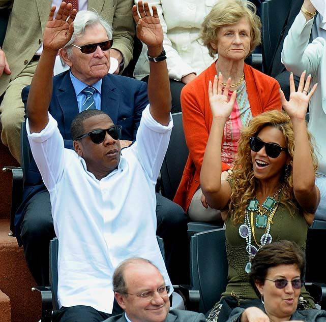Jay-Z and Beyonce took time out of their busy schedules to watch some tennis.  The couple sat in the presidential box at the French Open and watched Rafael Nadal claim his fifth title by defeating Robin Soderling 6-4, 6-2, 6-4.