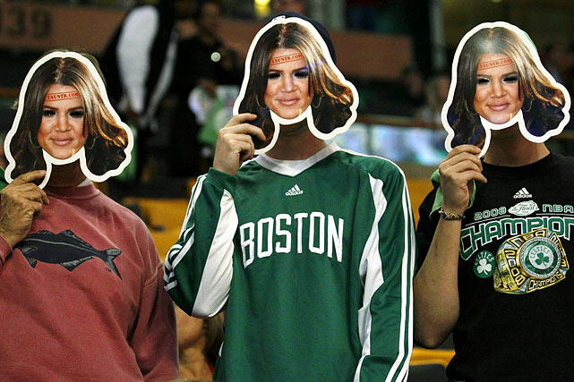 What's the best way to get in the head of the opposing team? Perhaps by donning a mask that resembles a player's wife.  That's exactly what Celtics fans did during the NBA finals when they covered their faces with Khloe Kardashian cut outs.  Lamar Odom must have thought his wife was cloned.