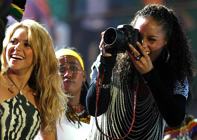 Music artists can't seem to get enough of the World Cup. Many were there for the opening ceremony, including Shakira, Alicia Keys and fiance Swizz Beatz, and Taboo and Will.i.am of the Black Eyed Peas.