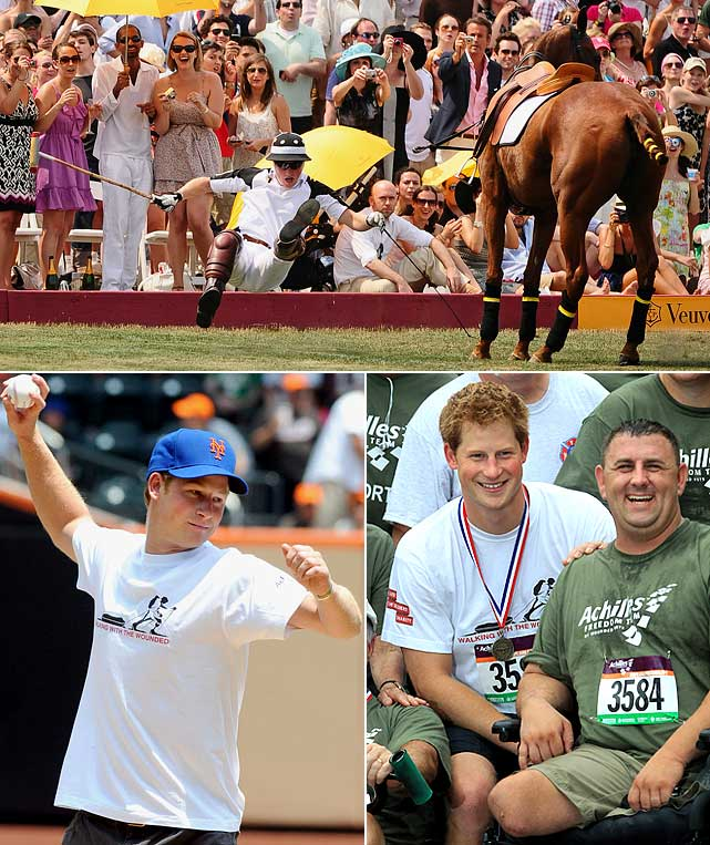 Prince Harry spent a whirlwind three days in New York, raising money for two charities -- Orphans in Lesotho, Africa and Veterans of War.  Harry took a spill while playing polo on Governor's Island, threw out the first pitch at Saturday's Met's game and ran in a five-mile race with wounded war veterans.