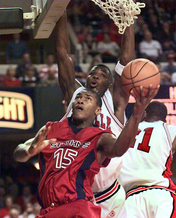 After St. John's coach Fran Fraschilla caught one of Artest's AAU games, he recuited the Queens native to play for the Red Storm. Artest had a strong freshman year, averaging 11.6 points and 6.3 rebounds per game, and made the Big East's All-Rookie and All-Tournament teams. The Red Storm went 22-10 and advanced to the NCAA Tournament for the first time since 1993.