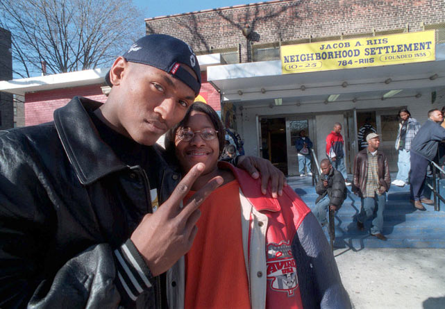 After announcing he'd go pro, Artest posed with his girlfriend, Kimisha Hatfield, outside the Jacob A. Riis center in Queens.