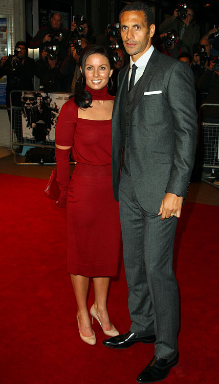 Rio Ferdinand (Manchester United) and wife Rebecca attend the UK Premiere of  Dead Man Running  at Odeon Leicester Square on October 22, 2009 in London.