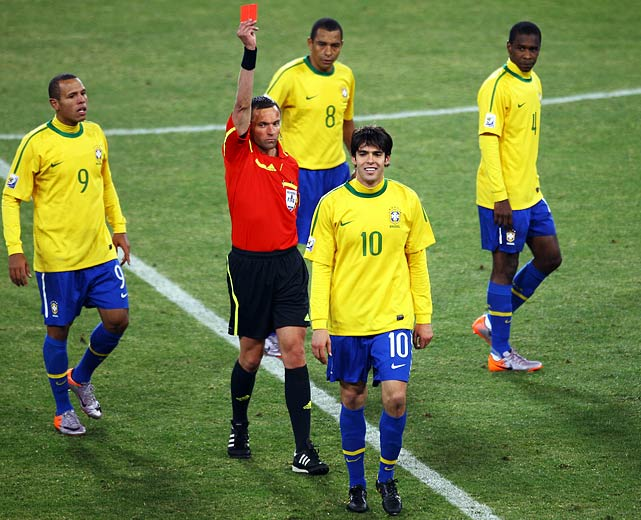"In Brazil's group game against Ivory Coast, Kaka received his second yellow card in the final minutes for incidental contact with Kader Keita, whose theatrical reaction helped sell the foul. Brazil coach Dunga called the red card ""totally unjust,"" and Kaka was forced to miss Brazil's group finale against Portugal."