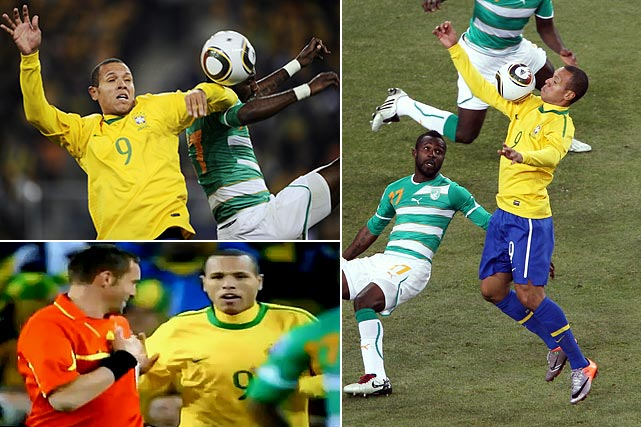 Luis Fabiano admitted after the game that he handled the ball (twice) en route to scoring Brazil's second goal against Ivory Coast, but that was little consolation to the African side. French referee Stephane Lannoy even asked Fabino about a possible hand ball after the goal but let it stand.