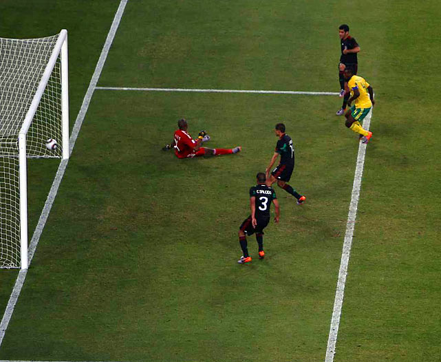 Rafael Marquez gave Mexico the equalizer goal in the 79th minute as South Africa's Aaron Mokoena watched helplessly.