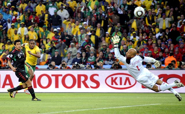 After a scoreless first half, South Africa's Siphiwe Tshabalala opened the tournament's scoring with a bang. In the 54th minute, in full sprint, he blasted a shot past Oscar Perez from just inside the penalty box.