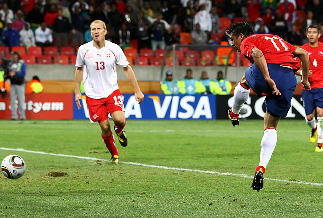 Mark Gonzalez (11) scored on a header in the 75th minute as Chile won its second match in a row. Before Gonzalez broke through, the Swiss hadn't allowed a World Cup goal in nearly 560 minutes, a tournament record.