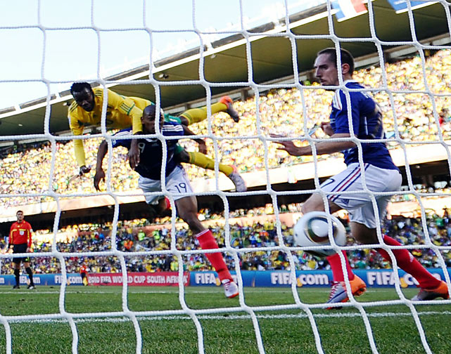 Bongani Khumalo scored South Africa's first goal of the match in the 20th minute, deflecting a cross with his shoulder into the back of the net.