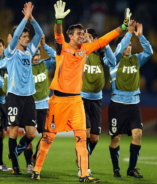 Uruguay has yet to allow a single goal in the World Cup. Led by goalkeeper Fernando Muslera, it is the first time in Uruguay's history that it has shut out its opponent in three straight World Cup matches.