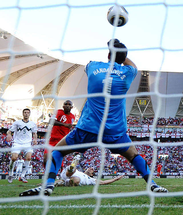Jermaine Defoe got England on the board with a volley off a cross from James Milner in the 23rd minute. Defoe's last goal for the national team also came against Slovenia on Sept. 5 of last year.