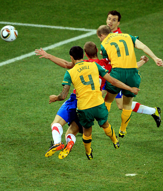 With a header off a cross from teammate Luke Wilkshire, Australia's Tim Cahill gave his squad a 1-0 lead in the 69th minute. Cahill returned with a bang after missing Australia's last match against Ghana.