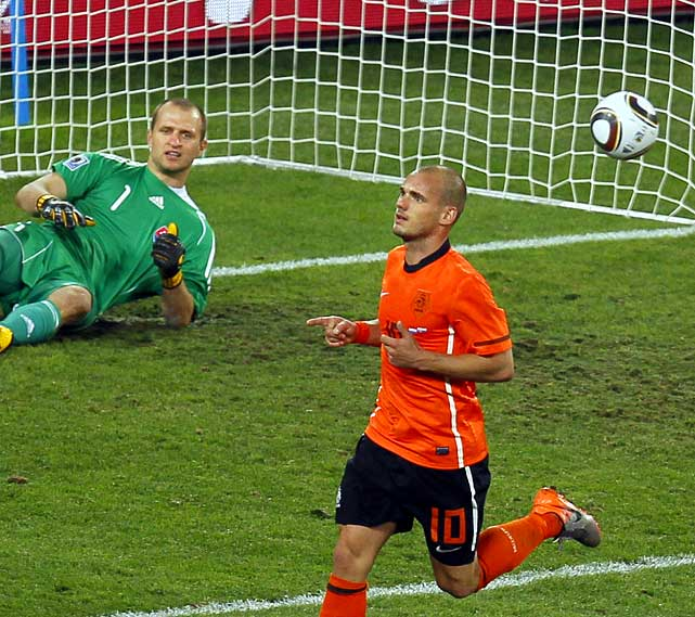 Wesley Sneijder all but sealed the win for the Netherlands in the 84th minute. The victory pushed the Dutch to the quarterfinals for the first time since 1998.