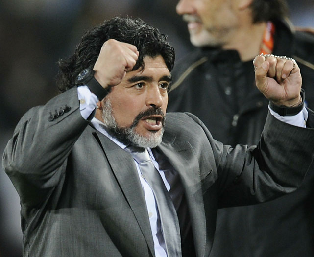 Legend Diego Maradona celebrates his first victory as the national coach of Argentina.