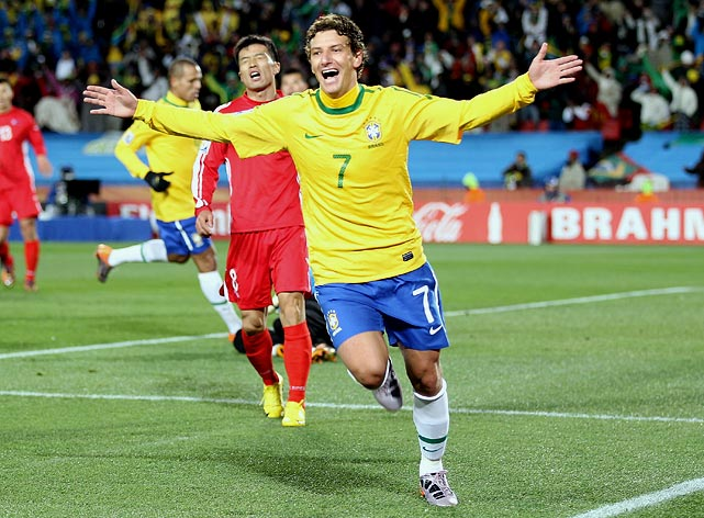 Elano gave top-ranked Brazil a 2-0 lead with his 72-minute goal off a through ball from Robinho. The midfielder also assisted on Maicon's goal.