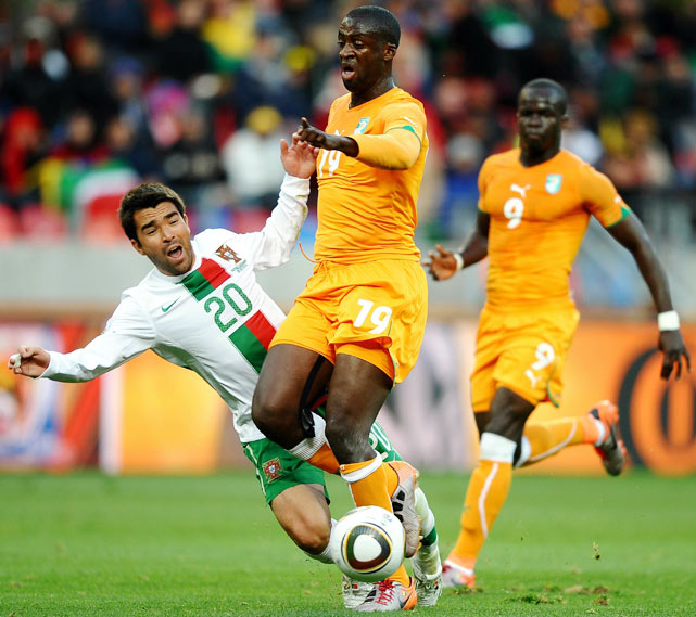 Battles for possession, like this one between Portugal's Danny and Ivory Coast's Ismael Tiote, were a lot more common than threatening runs or shots on goal.