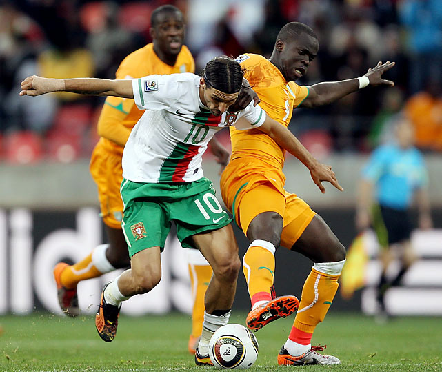 Portugal's Danny (left) and Ivory Coast's Ismael Tiote compete for the ball during a goalless draw between Portugal and Ivory Coast at Nelson Mandela Bay Stadium in Port Elizabeth, South Africa. The result was not what either side had in mind in a Group G that also includes heavily favored Brazil.