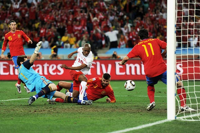 Gelson Fernandes scored in the 52nd minute and Switzerland held on from there to pull off the biggest surprise of the first round to date. Spain, the reigning European champion, had won 12 games in a row.