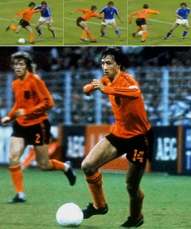 Johan Cruyff revealed his special move to beat a defender, the first time such a move had been seen.