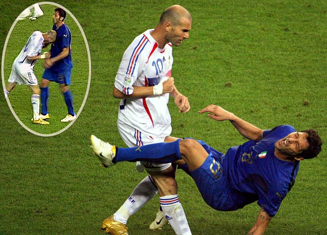 Zinedine Zidane headbutts Italian defender in the final after he makes some lewd suggestions about his wife.