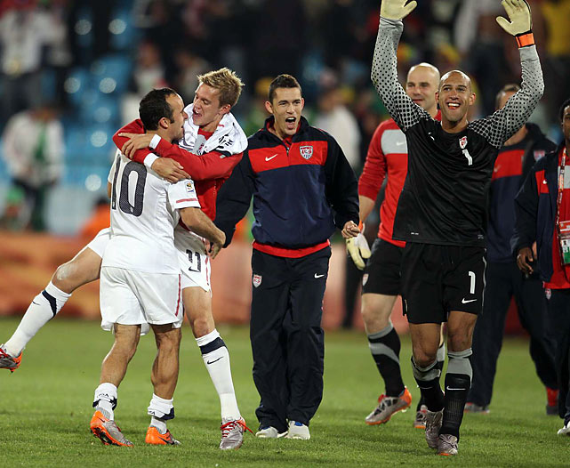 At the end of the match, goalkeeper Tim Howard could revel in the moment while Donovan kept celebrating. Howard made four saves and posted the U.S.' first shutout in 13 international matches.