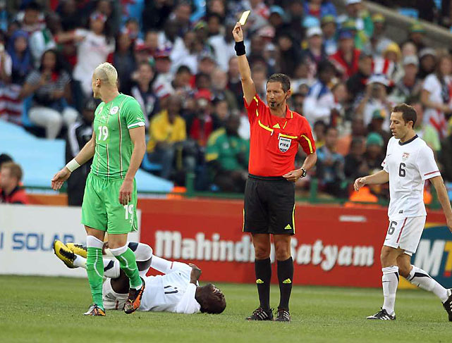 Algeria's Hassan Yebda was booked for a yellow card after a tackle on Altidore. Yebda committed five fouls in the match.