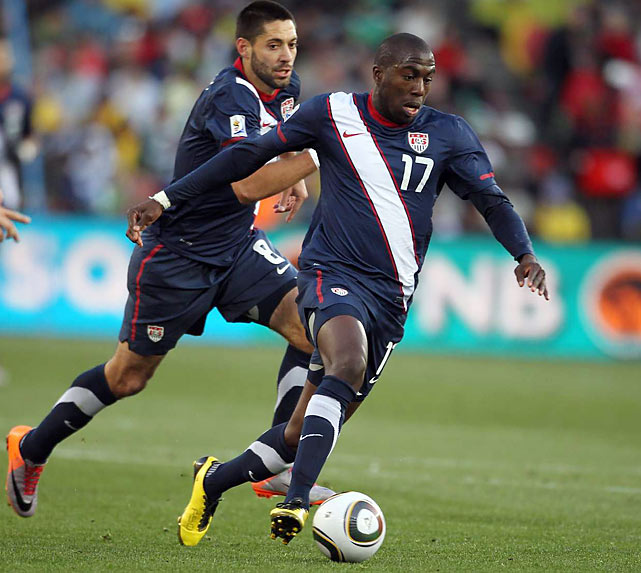 Jozy Altidore (17) accelerates in space as Clint Dempsey (8) provides support for the 20-year-old striker, but Altidore was unable to convert when he pushed his shot wide from distance.